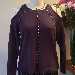 Ramy Brook Purple cold shoulder sweater